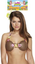 Coconut Bra With Flowers Adult