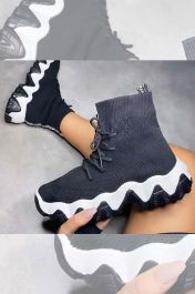 Contrast Chunky Sole Sock High Trainers Black