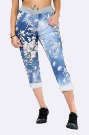 Cotton Floral Print Pocket Drawstring Trouser