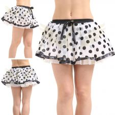 Crazy Chick White Black Polka Dot Chiffon Skirt with Netted Petticoat (12 Inches)