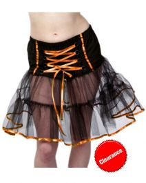 Crazy Chick Black/Orange Witch TuTu Skirt (18 Inches)