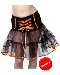 Crazy Chick Black/Orange Witch TuTu Skirt (18 Inches)