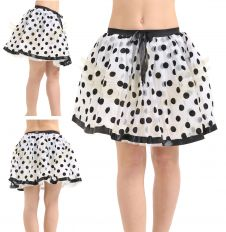 Crazy Chick White Black Polka Dot Chiffon Skirt with Netted Petticoat (18 Inches)