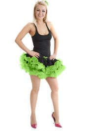 Crazy Chick 2 Layers Black Green Short Ruffle TuTu Skirt
