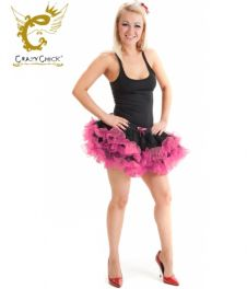 Crazy Chick 2 Layers Black Pink Short Ruffle TuTu Skirt