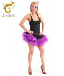 Crazy Chick 2 Layers Black Purple Short Ruffle TuTu Skirt