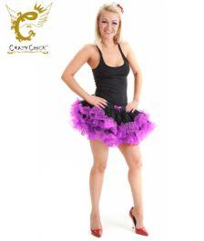 Crazy Chick 2 Layers Black Purple Short Ruffle TuTu Skirt