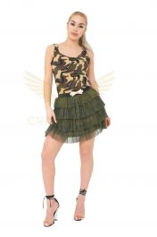 Crazy Chick 2 Layers Khaki Green Bow Belt Mesh Tiered TuTu Skirt (Adult)