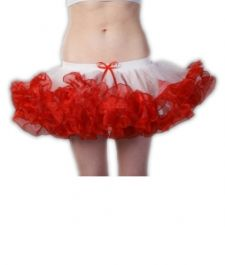 Crazy Chick 2 Layers White Red Short Ruffle TuTu Skirt