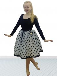 Crazy Chick White Black Polka Dot Skirt (23 Inches)