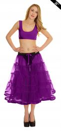 Crazy Chick 5 Tier Petticoat with Ribbon Purple TuTu Skirt (Approximately 26 Inches Long)