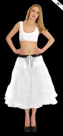 Crazy Chick 5 Tier Petticoat with Ribbon White TuTu Skirt (Approximately 26 Inches Long)