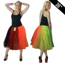 Crazy Chick 3 Layer Rainbow TuTu Skirt (Approximately 26 Inches Long)