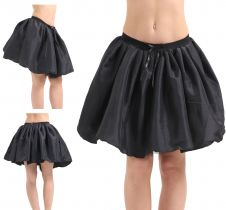 Crazy Chick 3 Layers Black Satin TuTu Skirt (Approx 18 Inches Long)