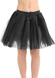 Crazy Chick 3 Layers Black TuTu Skirt (Approx 18 Inches Long)