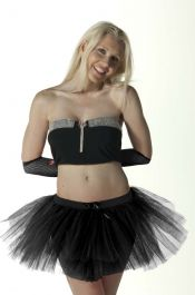 Crazy Chick 3 Layers Plain Black TuTu Skirt