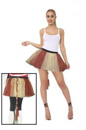 Crazy Chick 3 Layers Plain Brown Golden TuTu Skirt With Tail