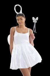Crazy Chick 3 Layers White Satin TuTu Skirt (Approx 18 Inches Long)
