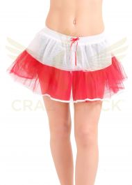 Crazy Chick 4 Layers White Red Tutu Skirt