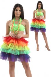 Crazy Chick 6 Layers Rainbow TuTu Skirt with Ribbon
