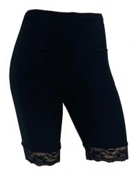 Crazy Chick Black Microfiber Lace Cycling Shorts