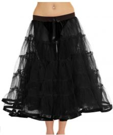 Crazy Chick 5 Tier Petticoat with Ribbon Black TuTu Skirt (Approximately 30 Inches Long)