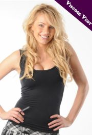 Crazy Chick Black Viscose Vest Top