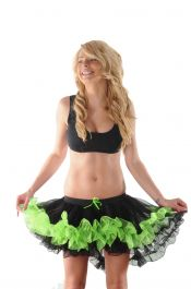 Crazy Chick Black/Green Burlesque Ruffle TuTu Skirt