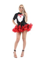 Crazy Chick Burlesque Ruffle Black/Red Vampire TuTu Skirt