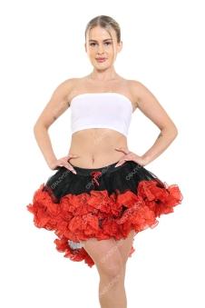 Crazy Chick Burlesque Ruffle Black/Red Vampire TuTu Skirt