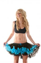Crazy Chick Black/Turqoise Burlesque Ruffle TuTu Skirt