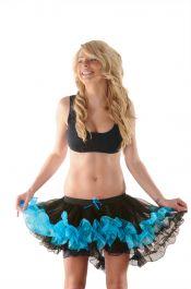 Crazy Chick Black/Turqoise Burlesque Ruffle TuTu Skirt