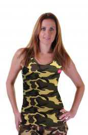 Crazy Chick Cotton Camouflage Vest Top