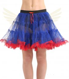 Crazy Chick 2 Layer Dance Ruffle Edged TUTU Skirt Blue and Red Ruffle