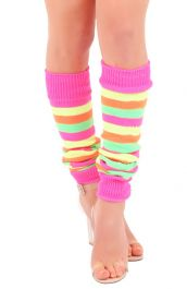 Crazy Chick Florescent Rainbow Stripe Leg Warmer