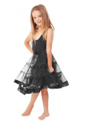 Crazy Chick Girls 2 Layers Black Petticoat TuTu Skirt (18 Inches Long)