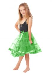 Crazy Chick Girls 2 Layers Green Petticoat TuTu Skirt (18 Inches Long)
