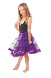 Crazy Chick Girls 2 Layers Purple Petticoat TuTu Skirt (18 Inches Long)