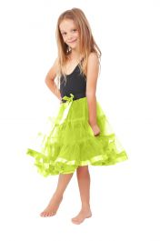 Crazy Chick Girls 2 Layers Yellow Petticoat TuTu Skirt (18 Inches Long)