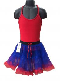 Crazy Chick Girls 2 Layer Dance Ruffle Edged TUTU Skirt Blue and Red Ruffle