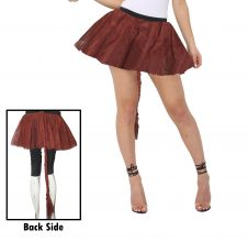 Crazy Chick Girls 3 Layers Plain Brown TuTu Skirt With Tail