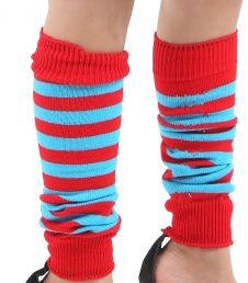 Crazy Chick Girls Red & Turquoise Stripe Leg Warmer