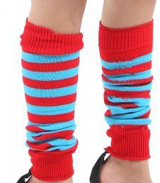 Crazy Chick Girls Red & Turquoise Stripe Leg Warmer