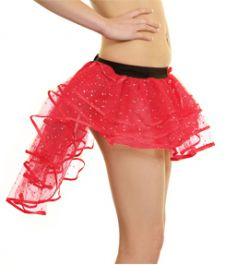Crazy Chick Girls Sequin Red Burlesque TuTu Skirt