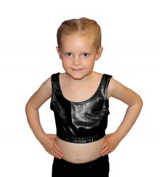 Crazy Chick Girls Shiny Metallic Black Crop Top