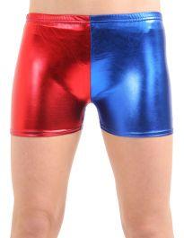 Crazy Chick Girls Shiny Metallic Red Blue Hot Pants