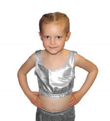 Crazy Chick Girls Shiny Metallic Silver Crop Top