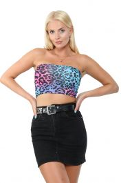 Crazy Chick Leopard Print Pink /Blue Boob Tube