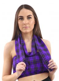 Crazy Chick Purple Tartan Boob Tube