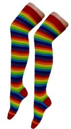 Crazy Chick Rainbow Stripe OTK Socks (12 Pairs)